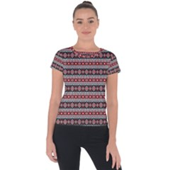 Fancy Tribal Border Pattern 17f Short Sleeve Sports Top