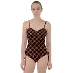 Circles2 Black Marble & Copper Foil (r) Sweetheart Tankini Set