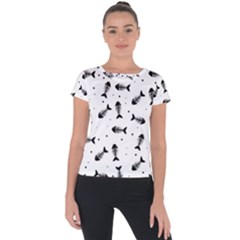 Fish Bones Pattern Short Sleeve Sports Top