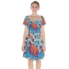 Dreamy Floral 3 Short Sleeve Bardot Dress by MoreColorsinLife