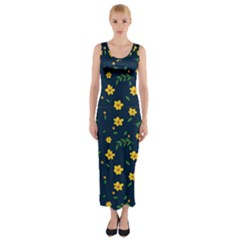 Yellow & Blue Bloom Fitted Maxi Dress by justbeeinspired2