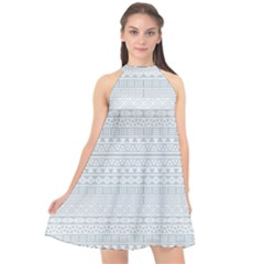 Aztec Influence Pattern Halter Neckline Chiffon Dress  by ValentinaDesign
