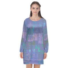 Abstract Art Long Sleeve Chiffon Shift Dress  by ValentinaDesign