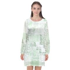 Abstract Art Long Sleeve Chiffon Shift Dress