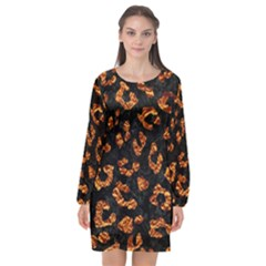 Skin5 Black Marble & Copper Foil (r) Long Sleeve Chiffon Shift Dress  by trendistuff