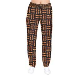 Woven1 Black Marble & Copper Foil Drawstring Pants by trendistuff