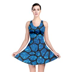 Skin1 Black Marble & Deep Blue Water Reversible Skater Dress by trendistuff