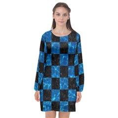 Square1 Black Marble & Deep Blue Water Long Sleeve Chiffon Shift Dress  by trendistuff