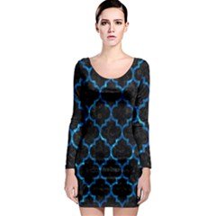Tile1 Black Marble & Deep Blue Water Long Sleeve Bodycon Dress by trendistuff