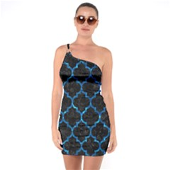 Tile1 Black Marble & Deep Blue Water One Soulder Bodycon Dress by trendistuff