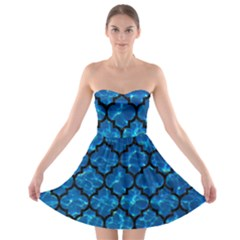Tile1 Black Marble & Deep Blue Water (r) Strapless Bra Top Dress by trendistuff