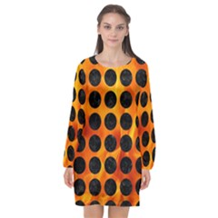 Circles1 Black Marble & Fire (r) Long Sleeve Chiffon Shift Dress