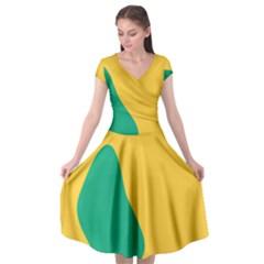 Yellow Green Blue Cap Sleeve Wrap Front Dress