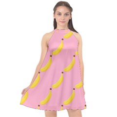 Banana Fruit Yellow Pink Halter Neckline Chiffon Dress  by Mariart