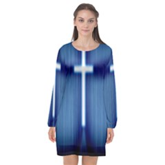Blue Cross Christian Long Sleeve Chiffon Shift Dress  by Mariart