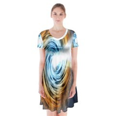 A Blazar Jet In The Middle Galaxy Appear Especially Bright Short Sleeve V Neck Flare Dress by Mariart