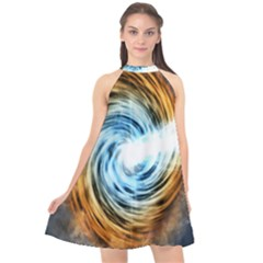 A Blazar Jet In The Middle Galaxy Appear Especially Bright Halter Neckline Chiffon Dress  by Mariart