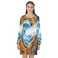 A Blazar Jet In The Middle Galaxy Appear Especially Bright Long Sleeve Chiffon Shift Dress  by Mariart