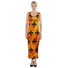Royal1 Black Marble & Fire Fitted Maxi Dress
