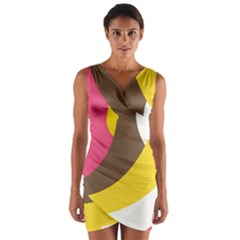 Breast Pink Brown Yellow White Rainbow Wrap Front Bodycon Dress by Mariart