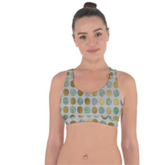 Green And Golden Dots Pattern                               Cross String Back Sports Bra by LalyLauraFLM
