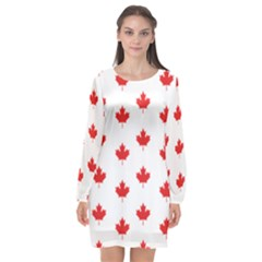 Canadian Maple Leaf Pattern Long Sleeve Chiffon Shift Dress