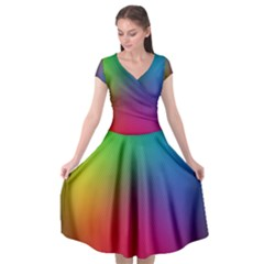 Bright Lines Resolution Image Wallpaper Rainbow Cap Sleeve Wrap Front Dress by Mariart