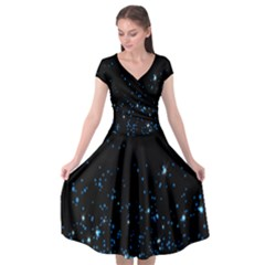 Blue Glowing Star Particle Random Motion Graphic Space Black Cap Sleeve Wrap Front Dress by Mariart