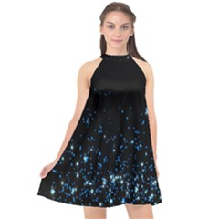 Blue Glowing Star Particle Random Motion Graphic Space Black Halter Neckline Chiffon Dress  by Mariart