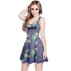 Canaries Budgie Pattern Bird Animals Cute Reversible Sleeveless Dress