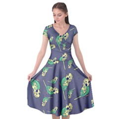 Canaries Budgie Pattern Bird Animals Cute Cap Sleeve Wrap Front Dress by Mariart
