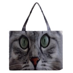 Cat Face Eyes Gray Fluffy Cute Animals Zipper Medium Tote Bag