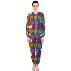 Fruit Melon Cherry Apple Strawberry Banana Apple Onepiece Jumpsuit (ladies)  by Mariart