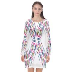 Free Symbol Hands Long Sleeve Chiffon Shift Dress  by Mariart