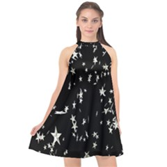 Falling Spinning Silver Stars Space White Black Halter Neckline Chiffon Dress  by Mariart