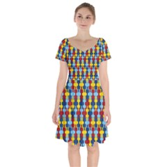 Fuzzle Red Blue Yellow Colorful Short Sleeve Bardot Dress