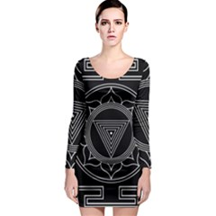 Kali Yantra Inverted Long Sleeve Bodycon Dress by Mariart