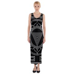 Kali Yantra Inverted Fitted Maxi Dress by Mariart