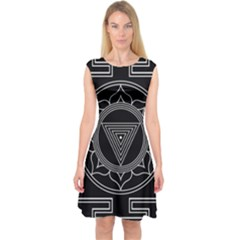 Kali Yantra Inverted Capsleeve Midi Dress by Mariart