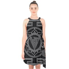 Kali Yantra Inverted Halter Collar Waist Tie Chiffon Dress by Mariart