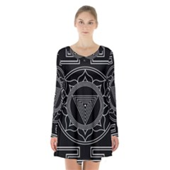 Kali Yantra Inverted Long Sleeve Velvet V Neck Dress by Mariart