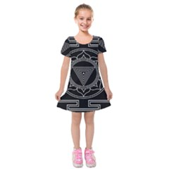 Kali Yantra Inverted Kids  Short Sleeve Velvet Dress by Mariart