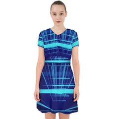 Grid Structure Blue Line Adorable In Chiffon Dress by Mariart
