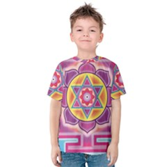 Kali Yantra Inverted Rainbow Kids  Cotton Tee by Mariart