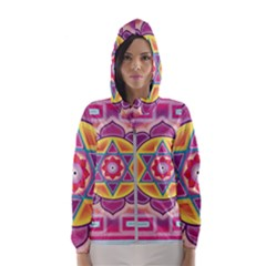 Kali Yantra Inverted Rainbow Hooded Wind Breaker (women)
