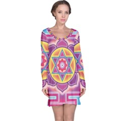Kali Yantra Inverted Rainbow Long Sleeve Nightdress by Mariart