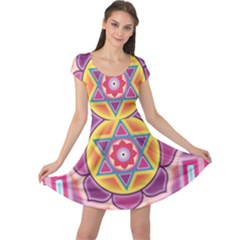 Kali Yantra Inverted Rainbow Cap Sleeve Dress by Mariart