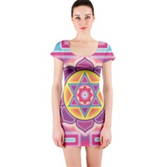 Kali Yantra Inverted Rainbow Short Sleeve Bodycon Dress by Mariart