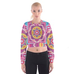 Kali Yantra Inverted Rainbow Cropped Sweatshirt by Mariart