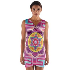 Kali Yantra Inverted Rainbow Wrap Front Bodycon Dress by Mariart